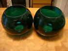 PAIR LARGE Vintage antique Green Glass ball Globe Shades for gas oil lamp sconce