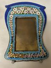 BEAUTIFUL LARGE VINTAGE OR ANTIQUE MICRO MOSAIC PICTURE FRAME GLASS FLOWERS