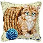 Latch Hook Complete Cushion Cover Kit Kitten and Wool43x43cm