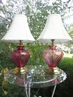 Pair Cranberry Glass Swirl Lamps Brass accents Pretty