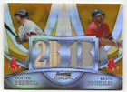 2010 Bowman Sterling Dual Relics Gold Refractor #BL-12 Pedroia Youkilis Red Sox