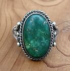 Old Pawn Navajo Native American Green Turquoise Sterling Silver Ring Size 725