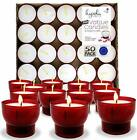 Hyoola Unscented Tea Light Votive Candles Red Plastic Cup 7 Hour 50 Pack