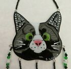 Handcrafted Fused Glass Black  White Cat Wind Chime New Free Shipping