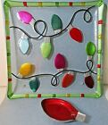 GLASS FUSION by DEMDACO Christmas Bulb Lights Square Platter with Dip Bulb