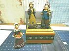 Set of 3 Indian Native American figures at Harvest with Matching Custom Wood Box