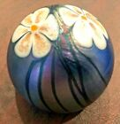 Vintage 1977 Smyers Purple  Green Iridescent Glass Floral Paperweight