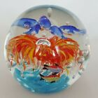 Art Glass Sphere Dolphins And Fish Under Sea Crystal Ball Ocean Paperweight