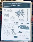 Stampin Up BEACH HAPPY Stamp Set RARE RETIRED Palm Tree Summer Sea TROPICAL NEW