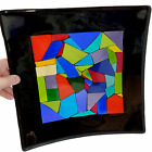 Art Glass Dichroic Fused Plate Tray Trinket or Serving Dish 12 Square