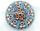 Strathearn Beautiful Color Millefiori 8 Spokes on Teal Ground Paperweight