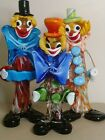 Collection of Murano Art Clowns 3 Vintage Glass Figures Unmarked