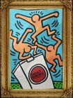 Amazing Artwork KEITH HARING Cardboard Oil Painted Signed Stamped