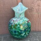 Hand Blown Art Glass Hanging Vase Wall Pocket Signed