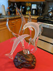VINTAGE ART GLASS FROSTED CLEAR DOLPHINS SCULPTURE on WOOD BASE MINT