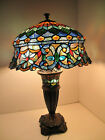 Tiffany Style Stained Glass Lamp Shade And Base Table Lamp 27H Blue Gold