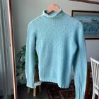 Vintage Baby Blue Cashmere Sweater Pointelle S M