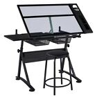Glass Drafting Table Height Adjustable Art Desk w Stool Artists Drawing Desk