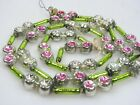 VTG Mercury Glass Double Indent Lime Star Beads Garland Christmas Ornament Japan