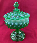 FENTON ART GLASS GREEN OPALESCENT HOBNAIL COVERED PEDESTAL CANDY DISH 85