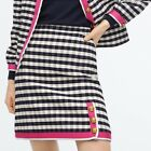 NWT J Crew Grosgrain Checked Tweed Skirt Gingham Navy Ivory Hot Pink Size 12