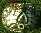 Vintage Tiffany Style Stained Slag Glass Lamp Shade Floral Multi Color Red Jewel