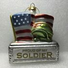 Christmas Ornament Proud of my Soldier Patriotic USA America Art Glass Flag