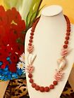 Red Sponge Coral Necklace Shells  Pearl Natural Gemstone GEM STATEMENT JEWELRY