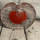 Vintage 1986 Art Glass Hand Blown Heart Paperweight Pencil Holder Signed Dated
