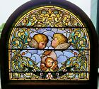 LARGE VICTORIAN STAINED GLASS ARCH WINDOW W HAND PAINTED FACES