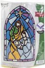 Bucilla Felt Wall Hanging Applique Kit Stained Glass Nativity 89271E