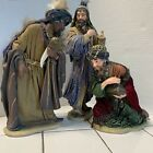 3 Wise Men Hand Painted Porcelain Fabric Members Mark Large Nativity