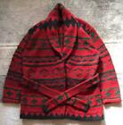 POLO RALPH LAUREN Knit cardigan gown Native navajo pattern Mens L size Red Green