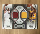 LEBRON JAMES MAGIC JOHNSON 2009 10 SP GAME USED DUAL COMBO MATERIALS JERSEY 499