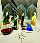 Vintage Stained Glass Nativity Scene 15pc Set Hand Crafted Cathedral Windows 594