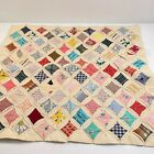 vintage quilt cathedral block topper table top retro handsewn 22x20 floral check