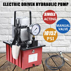 750W 10000PSI Electric Driven Hydraulic Pump Single Acting Manual Valve+Oil Hose