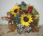 VERY PRETTY FALL DESIGN IN BIRCH CONTAINER WITH MACKENZIE CHILDS BOW