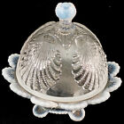French Opalescent Beaded Shell Mosser Glass Covered Butter Dish