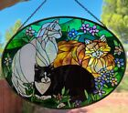 Vintage Hand Painted Joan Baker Tiffany Cats Stained Glass 3 Cat Suncatcher