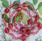 Rare Miriam Haskell Pink Clear Glass Long Necklace Jewelry