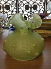 RARE SHELLY GREEN FENTON ROSE BUD CASED GLASS LAMP SHADE 1967 large