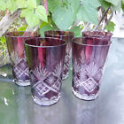 Vintage cut to clear Amethyst Purple Crystal Drinking Glasses