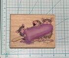 HOUSE MOUSE Wood Mounted Rubber Stamp BRAIN FREEZE popsicle Ice Cream RARE HTF
