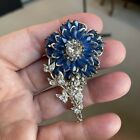Vintage Signed Miriam Haskell Blue Sapphire Art Glass Brooch Pin Silver Tone