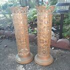 Antique brass Glass vase candle Holders glass inserts