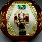 Vintage Large Colored Glass Nutcracker Christmas Ornament Red Gold Rare