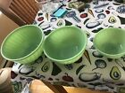 VINTAGE FIRE KING OVEN WARE JADEITE COLONIAL KITCHEN SET OF 3 MIXING BOWLS