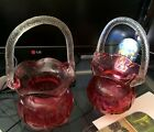 2 Fenton Style Vintage Cranberry Glass Basket Vases with Clear Glass Rope Handle