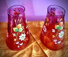 PAIR Of Victorian style Handpainted Floral Cranberry Cone Shaped Shades